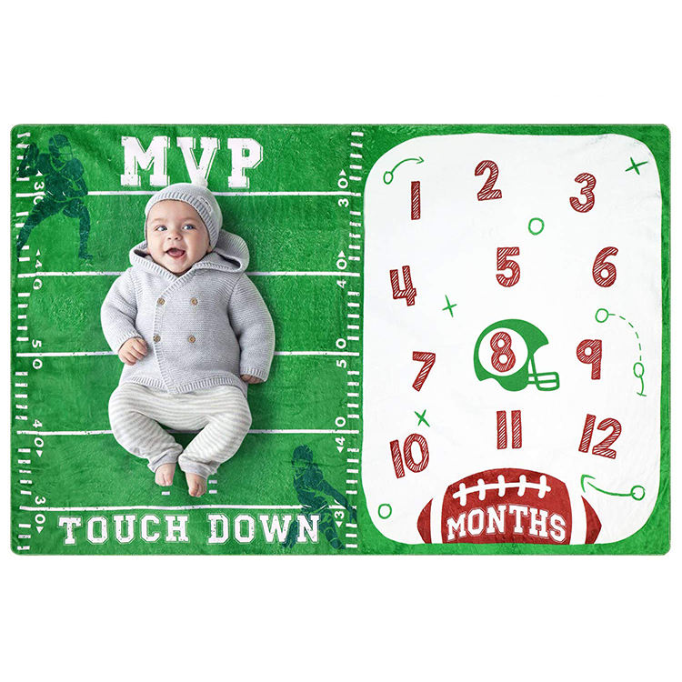 Custom Toddler Photography Background Prop Soft Plush Fleece Football Sports Baby Boys Monthly Milestone Blanket