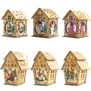 Village single-story roof houses vintage christmas tree hanging decoration wooden house with led light