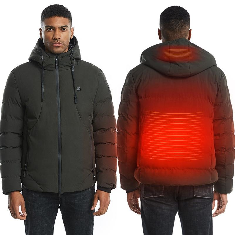 Winter outdoor usb smart heating hooded jacket mens battery heated jacket