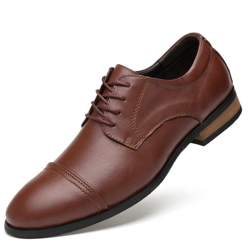Spanish Business Brown Genuine Leather Shoes for Men