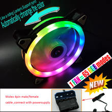 NEW 65 modes RGB Case circle Cooling automatically switch support sync 120mm 12cm With RGB LED Ring For pc Cooler
