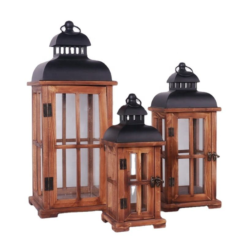 Customized handmade candle holder for home decor wooden lanterns showpieces for home decoration