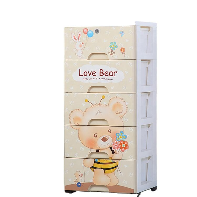 Durable drawer cartoon design 5 tier cabinet 83 cm plastic wardrobe for kids