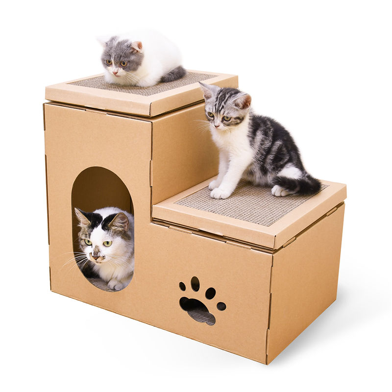 Cat Scratch Scratcher Cardboard House Corrugated Paper Durable Scratching Assembled Kitten for Indoor Kitty Recyclable Carton