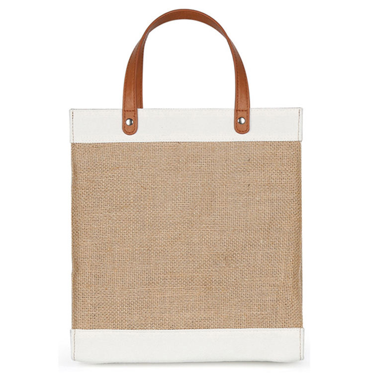 Food Grade Custom Logo Canvas Burlap Jute Bag Tote with Leather Straps for Promotion Gift