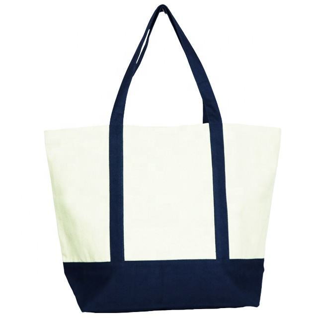 Natural Canvas Bag mit Blue Tape Handle & Bottom Joint / Handbag / Cotton Bag SA 8000-2014 Certified India
