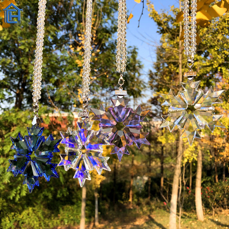 2018 Hot Sale Crystal Pendant Glass Accessories For Car Crystal Christmas Snowflake Pendant