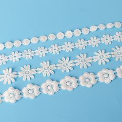 Customization White Embroidery Polyester Lace Trim For Women Clothing