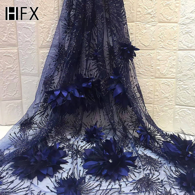 2019 wholesale new design elegant embroidered flower french tulle lace 3d lace fabric embroidery