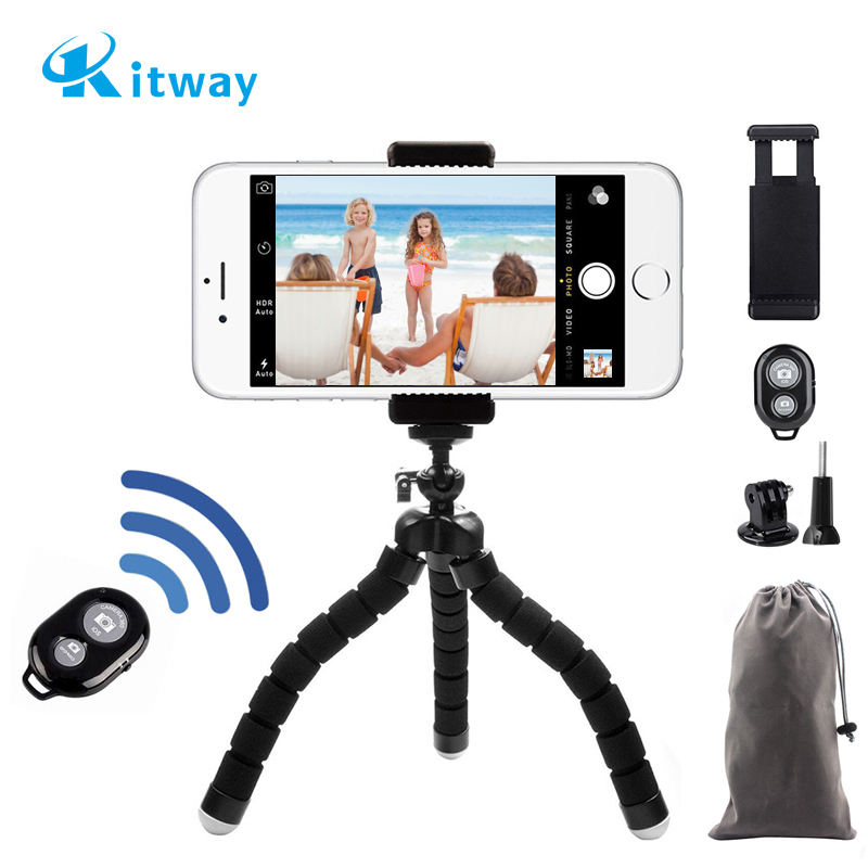 Flexible Sponge Mini Tripod With Remote Shutter For iPhone mini Camera Tripod Phone Holder clip stand