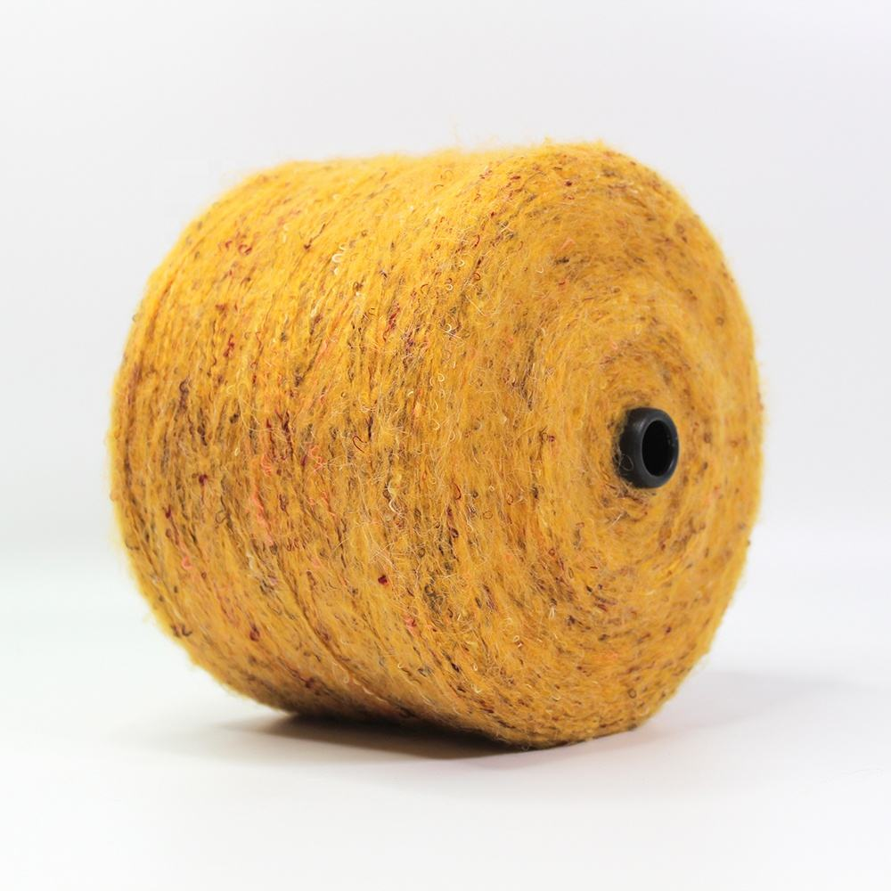 Wholesale 1/3.8Nm wool rabbit hair dyed woolen cotton chunky fancy crocheting melange blended yarn