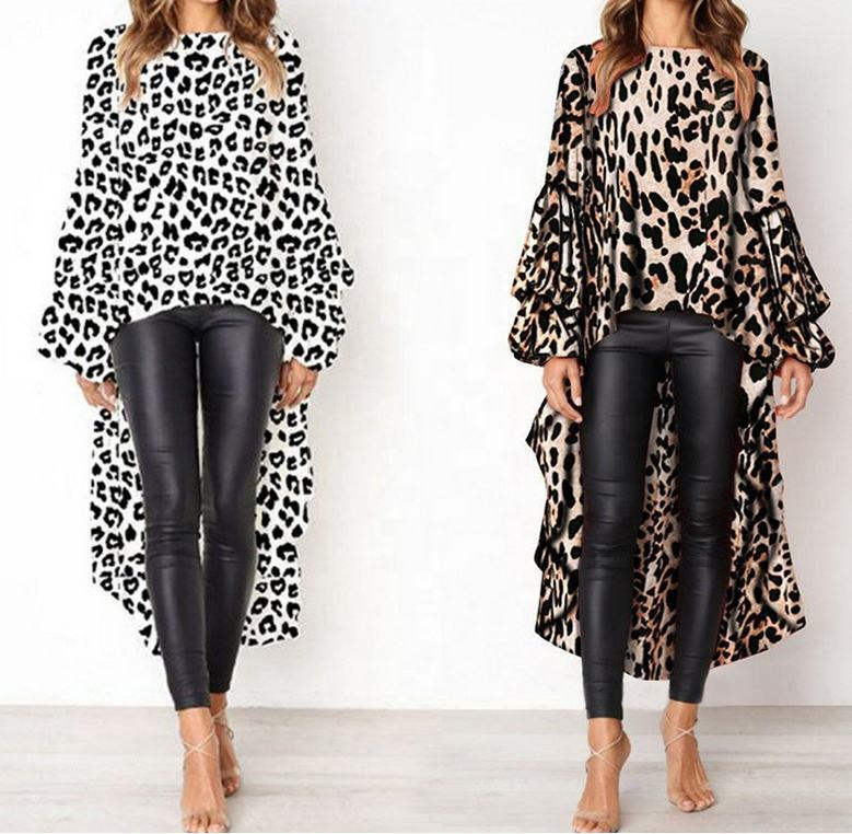 Dames Sexy leopard Animal Print Ronde Hals Puff Lange Mouw High-low Asymmetrische Zoom Top Blouses