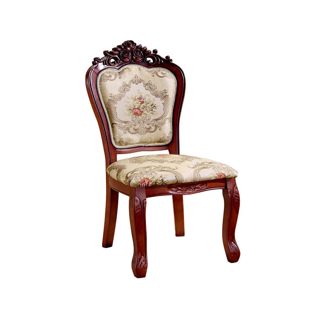 Leisure Europe Hand Carved Solid Wood Dining Chair Antique Wooden Armless Fabric&Leather Cushion Chairs Cafe Room Furniture