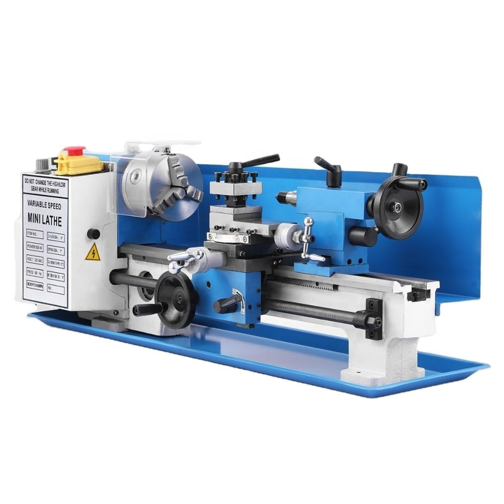"7"" x 14"" Wood Metal Processing Digital Variable Speed Mini Metal Lathe Machine"