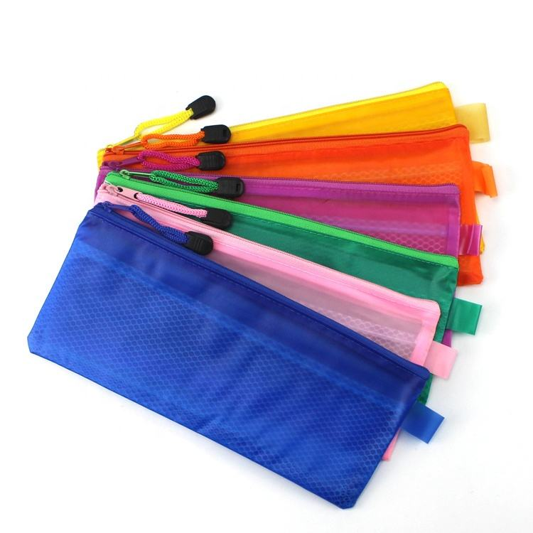 Pvc File Bag Children File PVC Make Up Pen Case Mesh Hold Pencil Bag