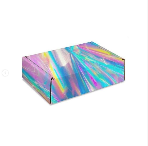Factory Customized Rainbow Color Holographic Paper Gift Box Cardboard Paper Gift Packaging for Clothes