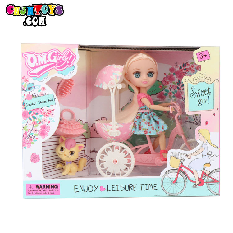 Girl Doll 3D Eyes With Bicycle Horse Accessories Play Set Princess Toys For Girls