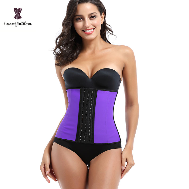 Customized Logo Latex Girdle Slimming Sheath Corsets Big Women In Purple With 3 Hooks