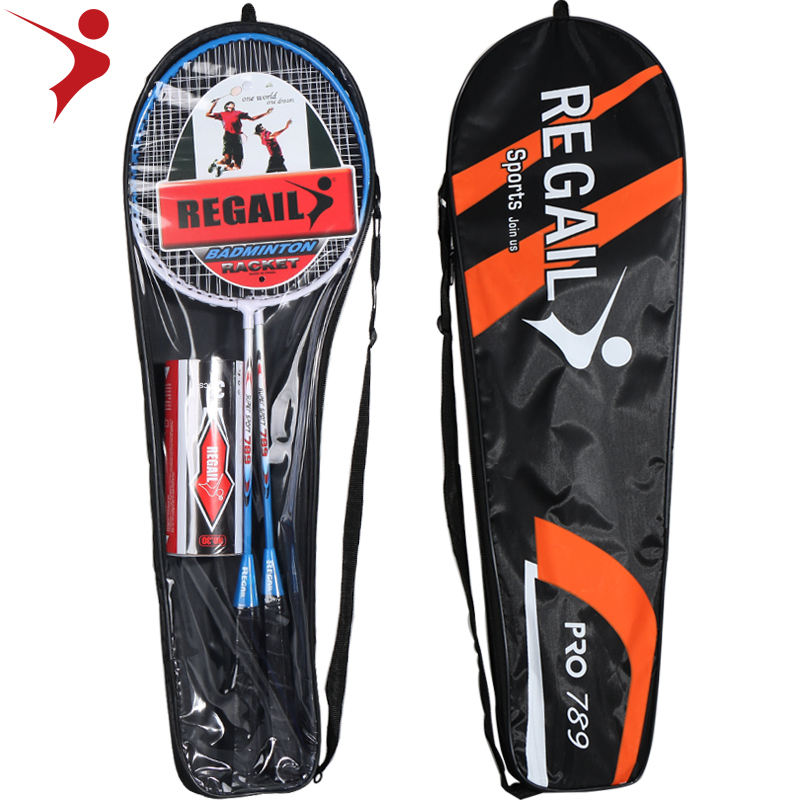 Regail badminton rackets 2 racket and 3 pc badminton shuttlecoke in tube steel of Raquette de badminton