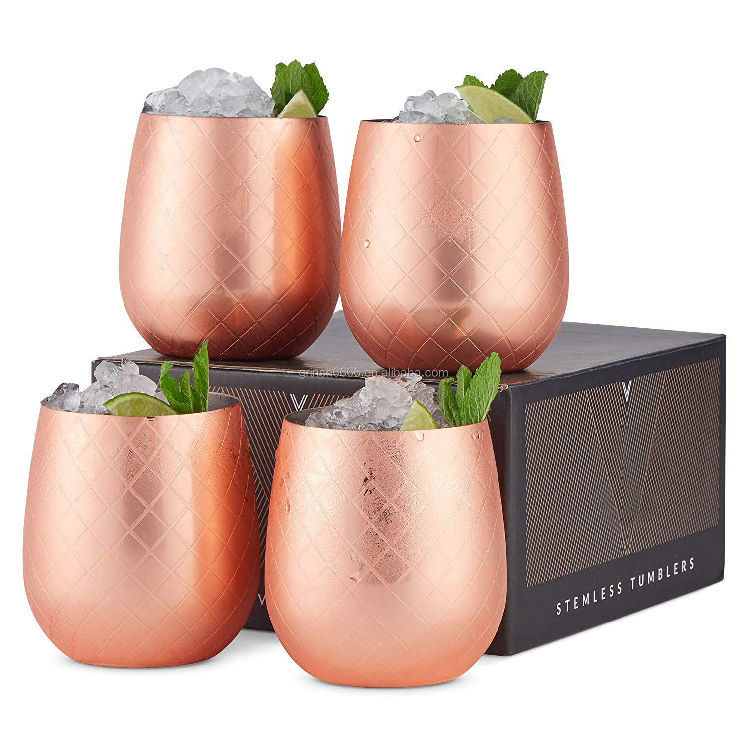 Etched Copper Stemless Wine Glasses Stainless Steel Tumblers, 12oz Cups Set of 4 Wine Drinks Tumbler