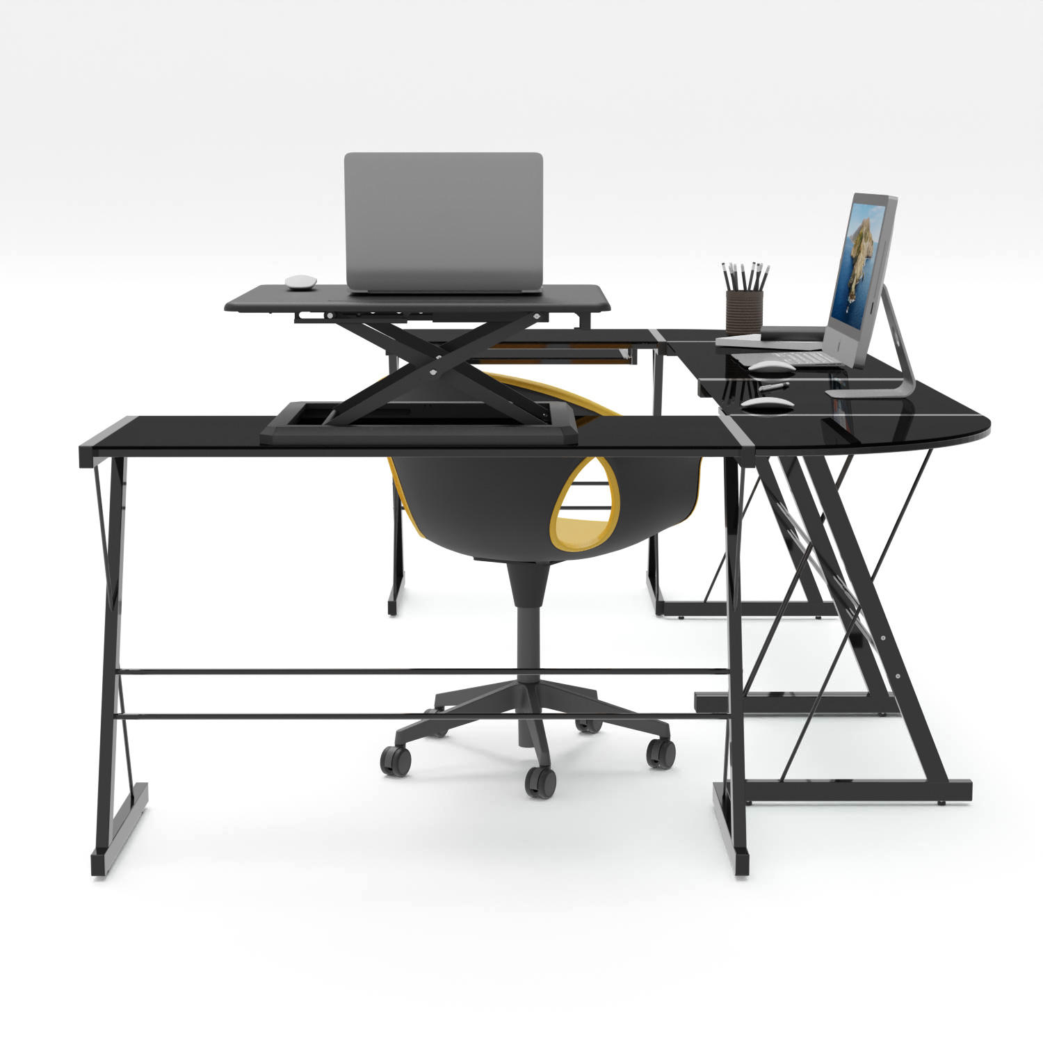 Flexible Working Station Round Corner Protected Portable L Shape Computer Desk