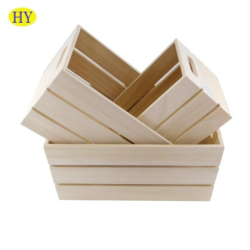 Wholesale Custom Unfinished Wood Slats Crate for Fruits