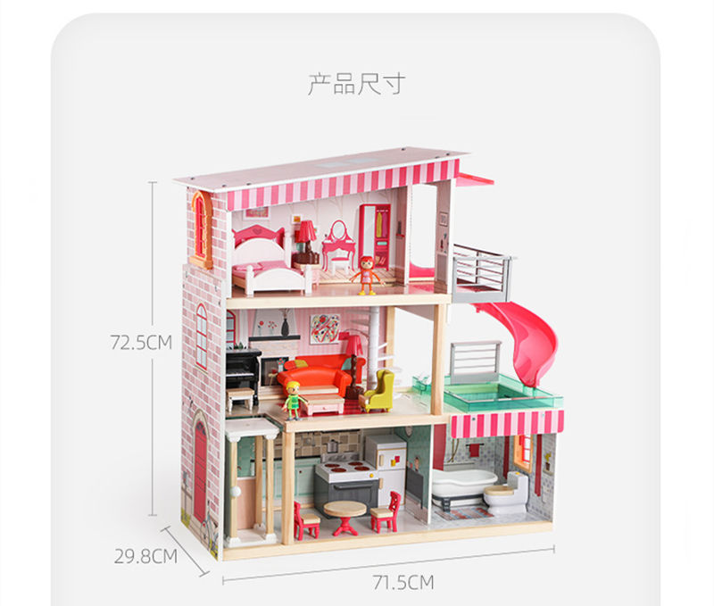 Dreamhouse Dollhouse With Pool Slide And Elevator Wooden Dolls House Toy With Furniture