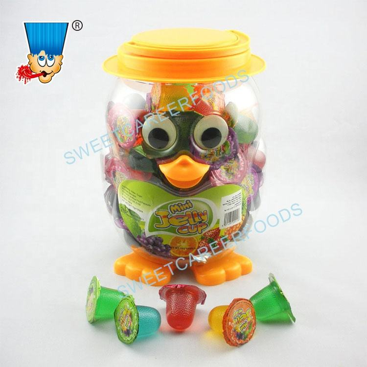 Mix Fruit Flavor Mini Jelly Cup In Penguin Jar Sweets Confectionery