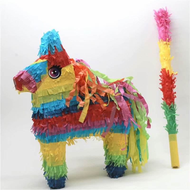 Shunli Colorful Mexican Donkey Pinata Sticks with Hanging Loop Deer Dinosaur Festival Party Supplies Favor for Fiestas