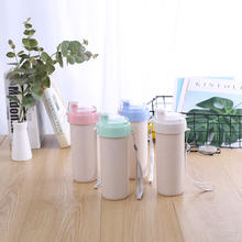 Eco Friendly Sport Drinking Water Bottle Biodegradable Wheat Straw Plastic Water Cup With Lid
