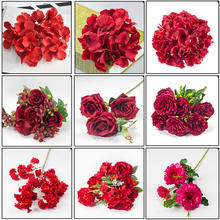QSLHC846 Wholesale Decorative Artificial Red Flowers for Wedding Decor