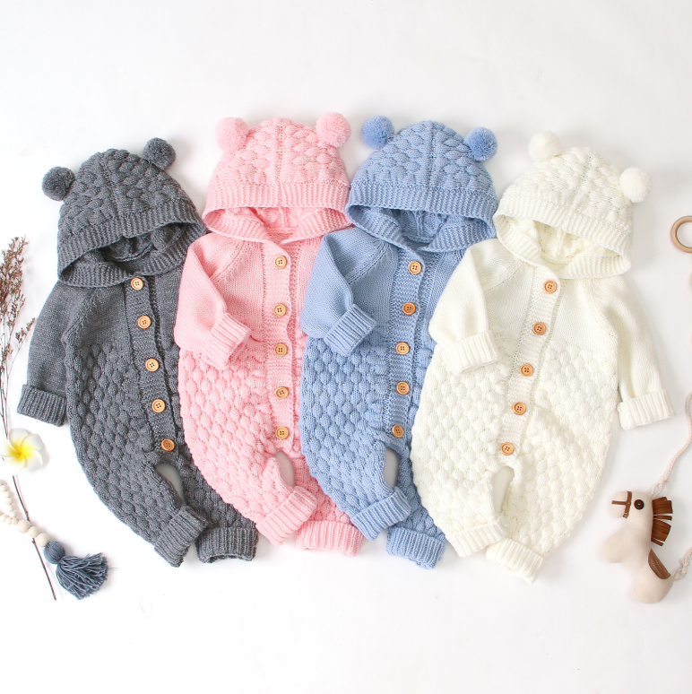Wholesales knitted cotton baby jumpsuit crochet adorable baby pompom hat clothes