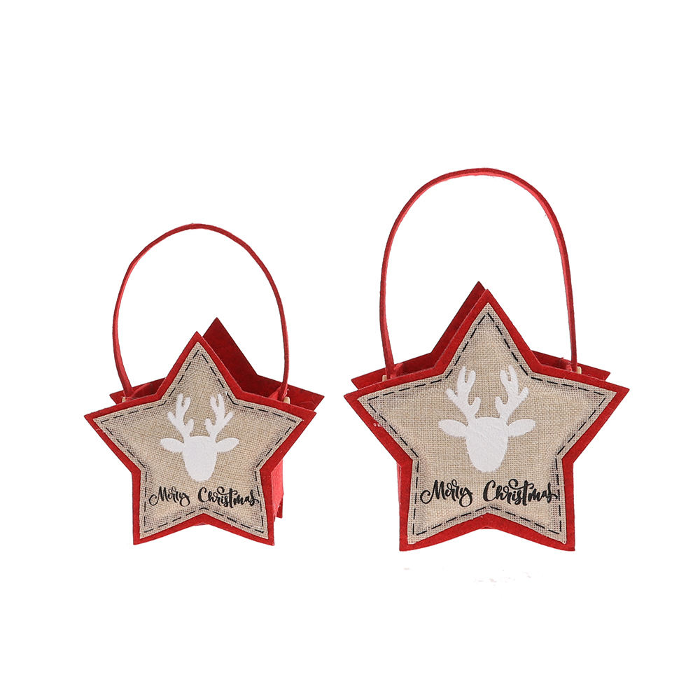 Chinese manufacturer new design red christmas gift felt candy star gift bag articulos navidenos for christmas