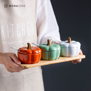 MONAZONE Pumpkin Ceramics Spice Jar Salt Sugar Storage Container With Spoon Kitchen Spice Bottles Jars Organizer Kitchen Tools
