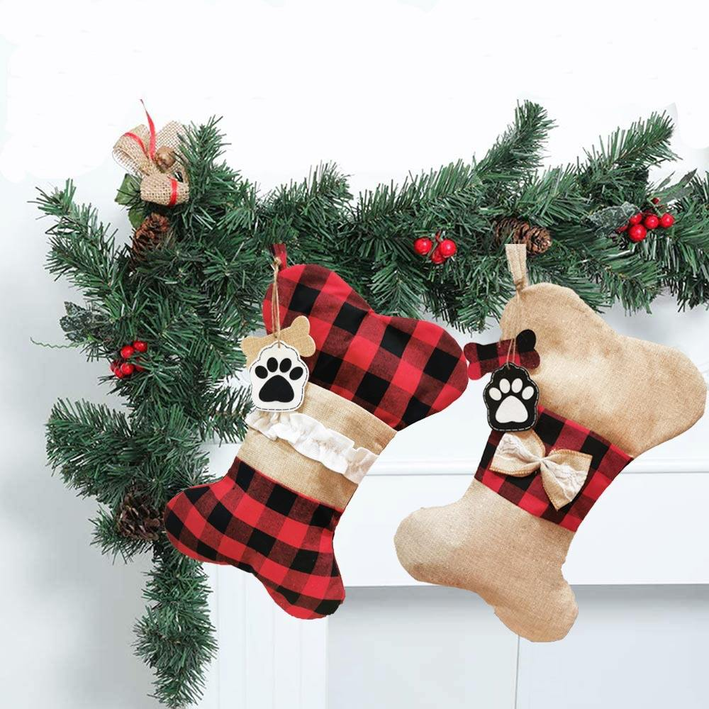 2020 Christmas pet socks ornaments fish bone Christmas socks gift bags holiday products factory wholesale