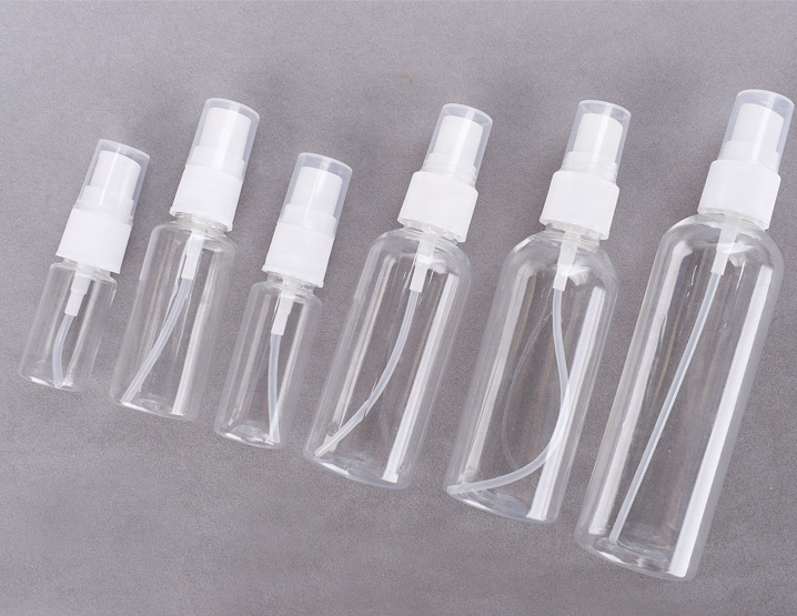 Transparent 100ml500ml plastic PET perfume spray bottle for trip and disinfection