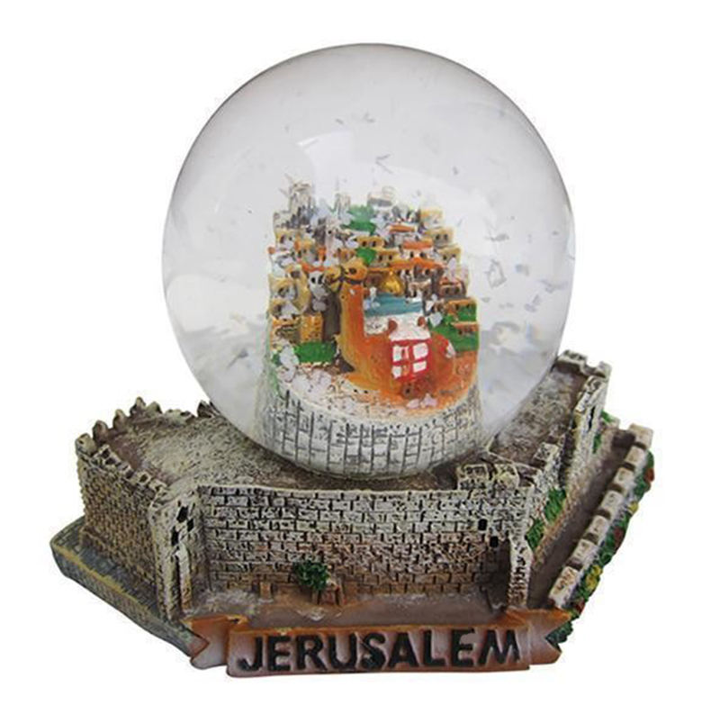 Cheap customized resin craft water ball jerusalem snow globe with silver plated shofar castel camel souvenir