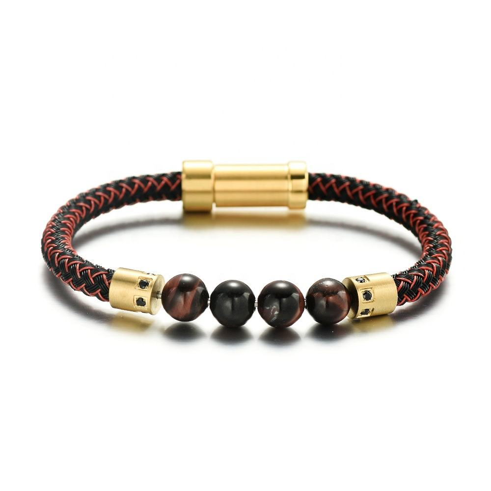 REAMOR Stainless Steel Wire and Natural Stone Detachable DIY Connector Indian Red Jewelry 8mm Bead Bracelet for Men and Women