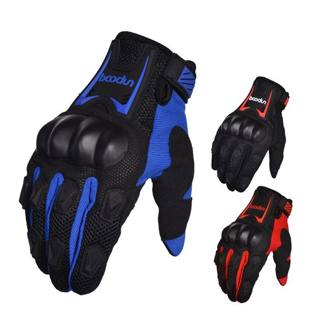 Boodun OEM ODM Full finger Winter men Touch Screen Breathable anti-slip Leather Black Motorcycle Sports Gloves Racing Gloves