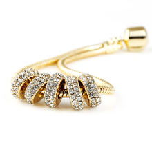 Gold Plated Charm Spacer Beads with Crystal Rhinestone European DIY Bead Fit For Charms Bracelet jewelry making