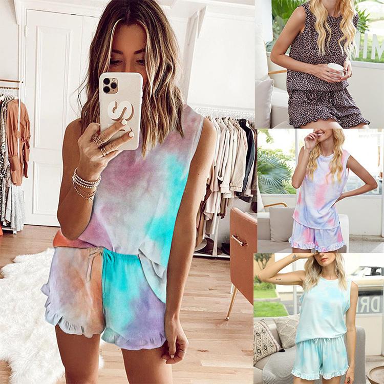 2020 de verano de tinte de corbata de las Mujeres ropa de <span class=keywords><strong>casa</strong></span> conjuntos de pijama de mujer ropa de dormir Pijamas Mujeres