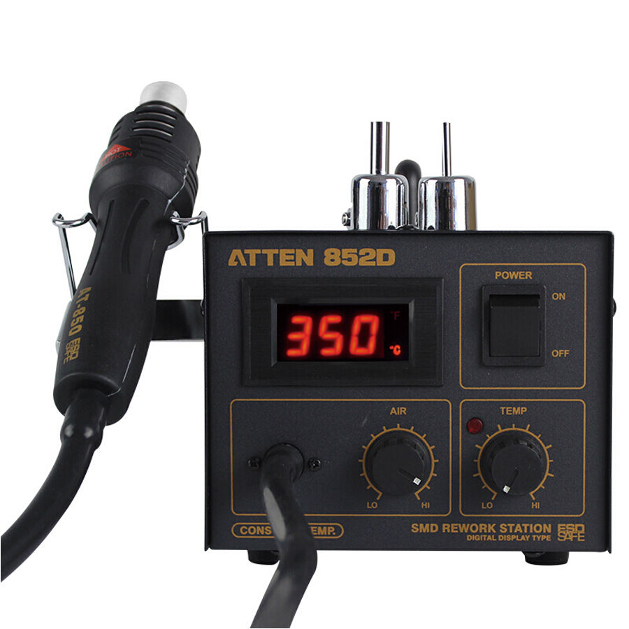 ATTEN AT852D 550W 220V Rework Hot Air Gun Soldering Station with 2 Nozzle for BGA IC Desoldering Tool