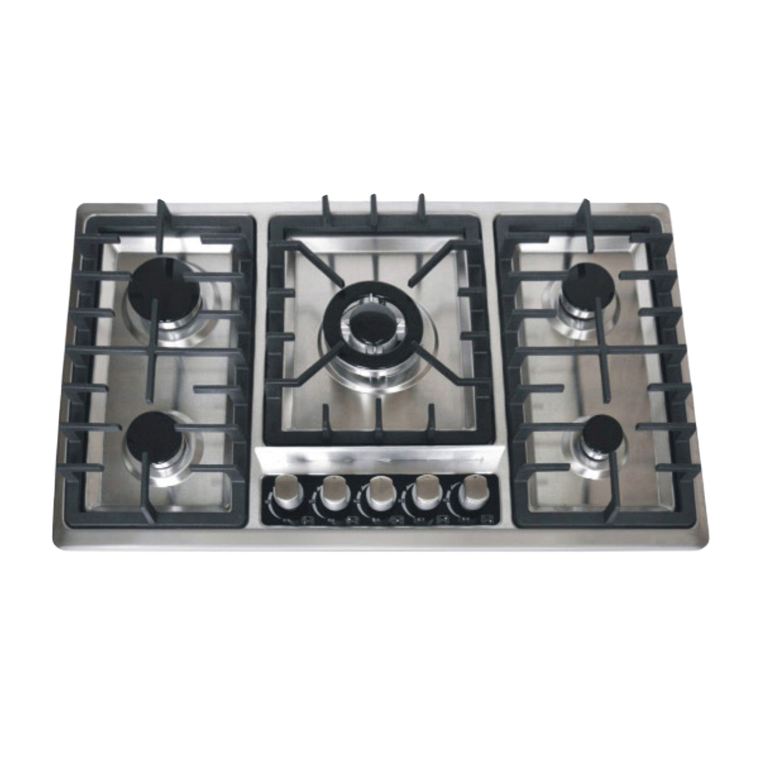 stainless steel built in 5 burner gas stove with cast iron pan support