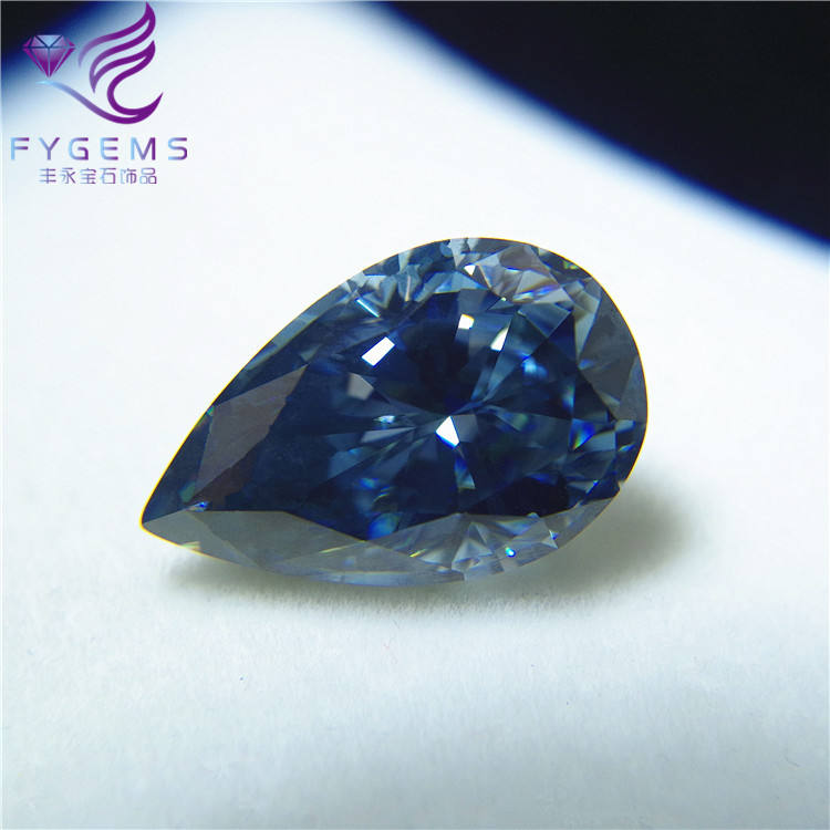 Dark blue color pear cut stone loose moissanite lab created diamonds
