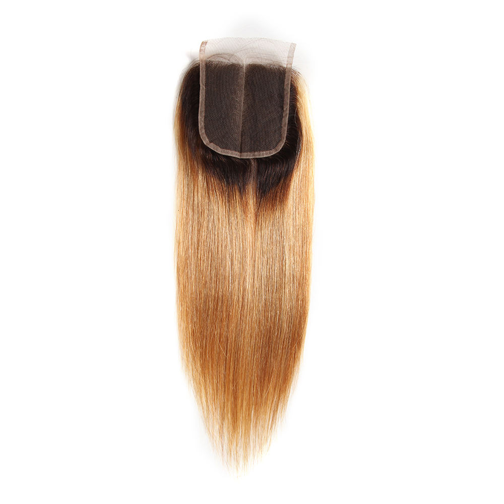 Preplucked Swiss Brown Lace Single Drawn Virgin Hair Straight Vietnam 4X4 Top Lace Hair Closure