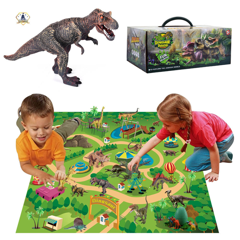 Kids Educational Plastic Realistic Dinosaur World Toys Figure with Activity Play Mat Set