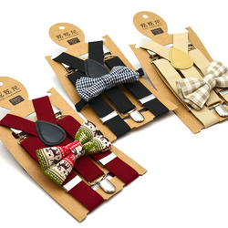 Kids suspenders tie set low price fashion style set boys girls school chidren 3 clips 65cm length 2.5cm width nice bowtie