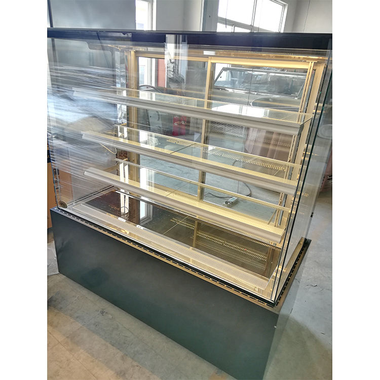 2.4 m long 4 layers air cooling straight glass cake showcase for bakery