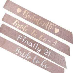 Birthday Party Rose Gold Glitter Sash Bachelorette Party Sash Bridal Shower Bride To Be Sash
