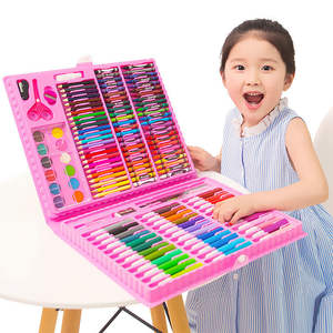 wholesale 120 pieces plastic box art drawing set with watercolor pen and colour pencil for kids